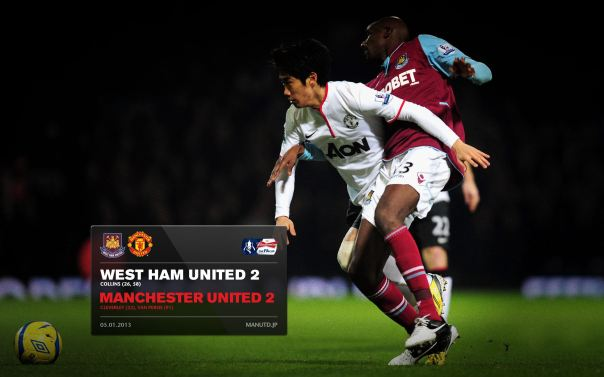 Manchester United Matches Wallpaper 2012-2013 v West Ham Away FA Cup Kagawa