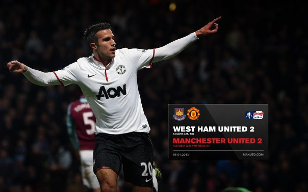 Manchester United Matches Wallpaper 2012-2013 v West Ham Away FA Cup Van Persie