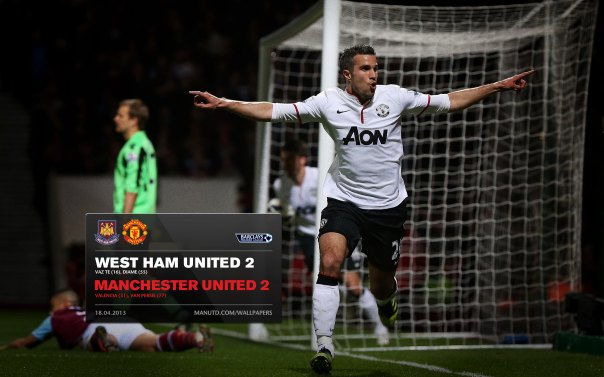 Manchester United Matches Wallpaper 2012-2013 v West Ham Away van Persie