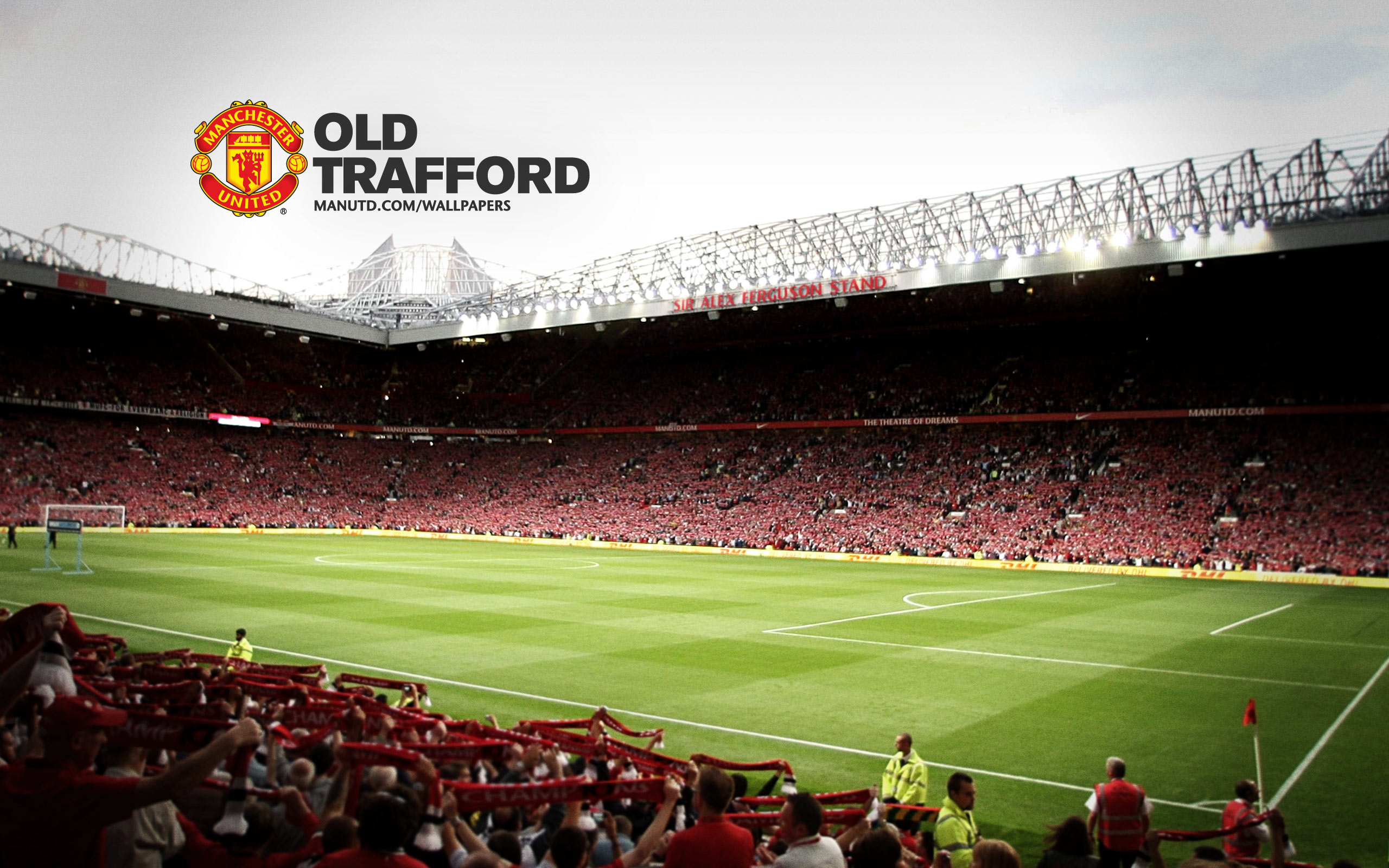 Old trafford manchester united wallpaper advertisements voltagebd Choice Image