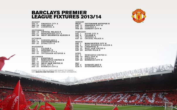 Manchester United Fixtures 2013-2014 Wallpaper (1)
